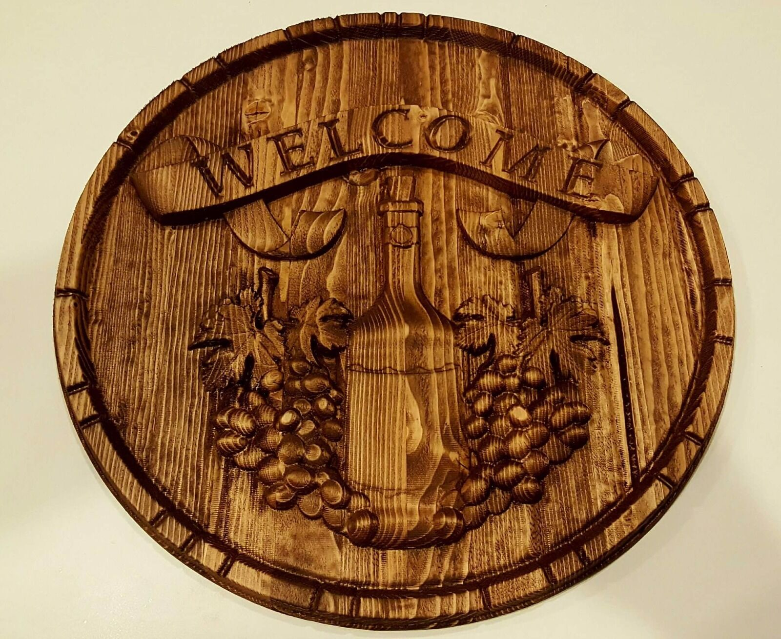 Rustic Wood Wine Barrel Welcome Sign