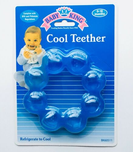Refrigerate To Cool BPA Free 0-18mo Baby King Cool Teething Teether Ring Blue