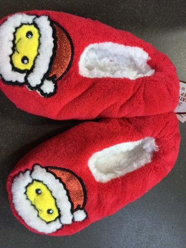 Girls Justice Santa Emoji Slippers NEW NWT SHOE SIZE 1 2 Red Sparkly Christmas