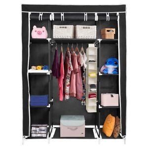 50-034-Portable-Closet-Storage-Organizer-Colthes-Wardrobe-Rack-Shelf-Beige-Red