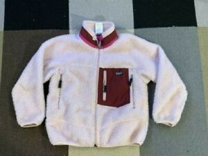 Girls-Kids-Patagonia-Retro-X-Fleece-Jacket-Light-Pink-Deep-Pile-Zip-sz-8-Small