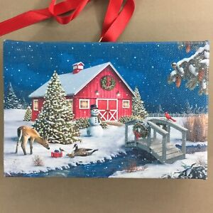 Red-Barn-Deer-amp-Birds-LED-Christmas-picture-6x4-034-changing-colors-timer-new
