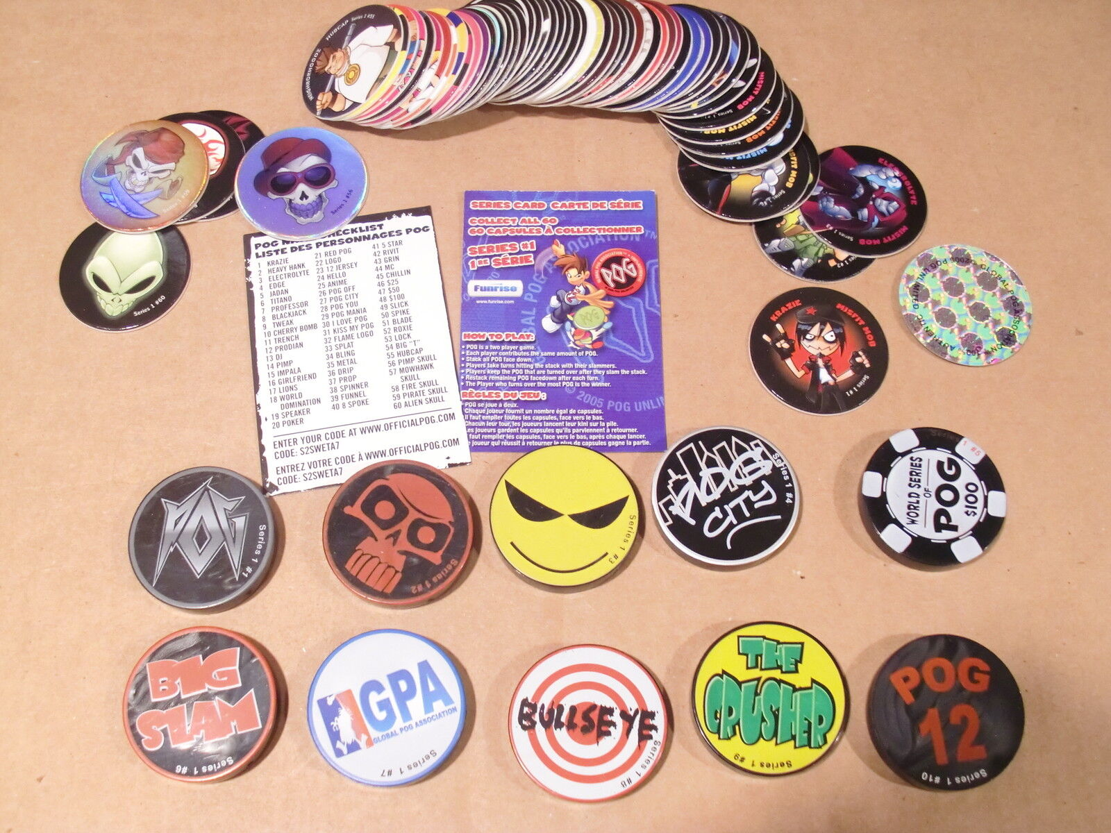 POG SERIES 1 NEW FUNRISE C S  of 60 + 10 SLAMMERS in GREAT UNPLAYED CONDITION