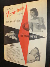 Vintage Vibra-Tone Home Massage Instruction Book Advertisement