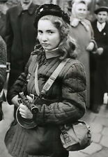 8 x 10 B&W WWII Photo Young Russian Female Soldier PPSh   WW2  / 1116 8X10