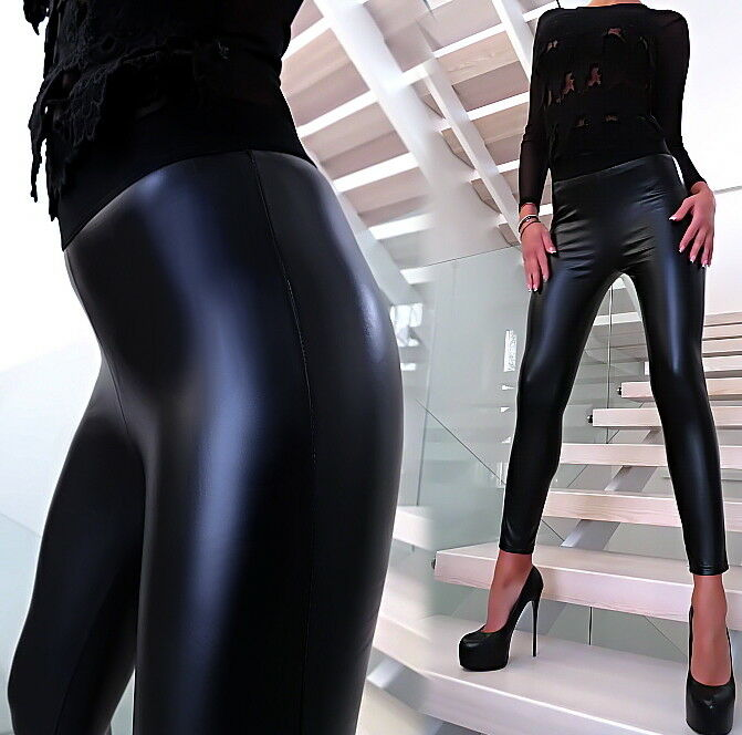 black HOSE LEDER OPTIK STRETCH LEGGINGS U13 WETLOOK Leather Look PANTS L XL