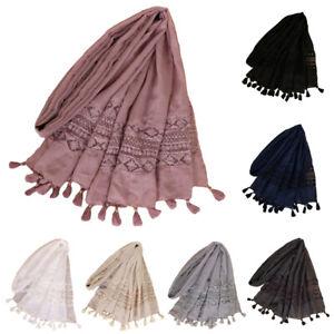 Women-Tassel-Lace-Plain-Cotton-Shawl-Scarf-Muslim-Hijab-Wrap-Large-Scarves-Stole