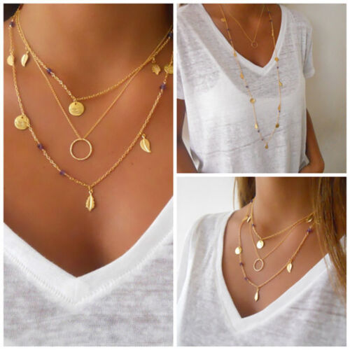 Fashion Womens Gold Color Multi-layer Geometric Leaf Round Disc Necklace Z