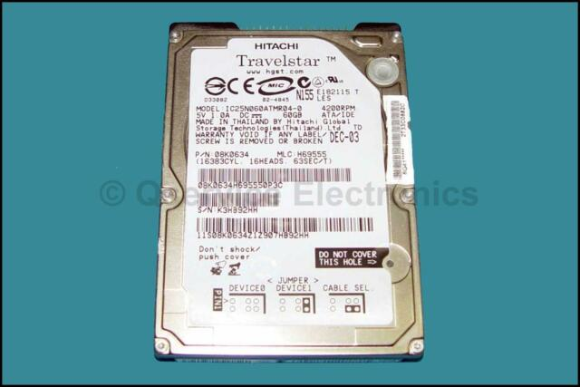 "Hitachi Travelstar 08K0634 2.5"" 60GB IDE HD Drive Model # IC25N060ATMR04-0"