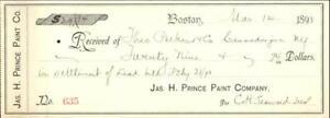 1893 Canandaigua New York (NY) Receipt Theo Perkins and Co.
