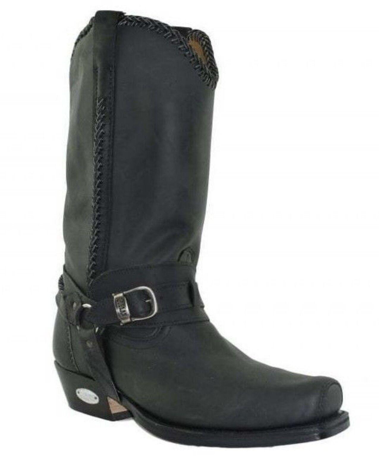 Loblan 548 Negro Cuero Ceroso Para Hombre botas de vaquero occidental Puntera Cuadrada Cincel de motorista