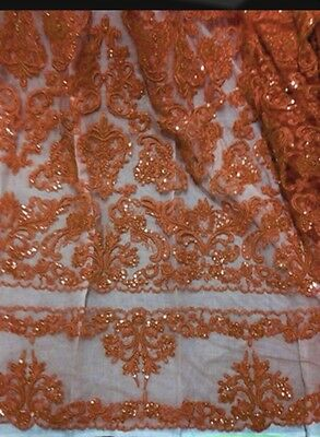 """BURNT ORANGE BEADED & SEQUINS BRIDAL LACE CORDED FABRIC 50"""" WIDE 1 YD"""