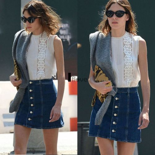 Fashion Women High Waisted Button-Down Denim A-Line Mini Skirt ILOE