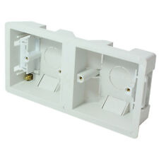 35mm Deep Dual Plastic Dry Lining Back Box - 1 Gang Wall Flush Mount Pattress