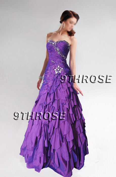 BELLE OF BALL  BEADED EVENING PROM FORMAL DRESS WITH PETAL-SKIRT PURPLE AU16US14