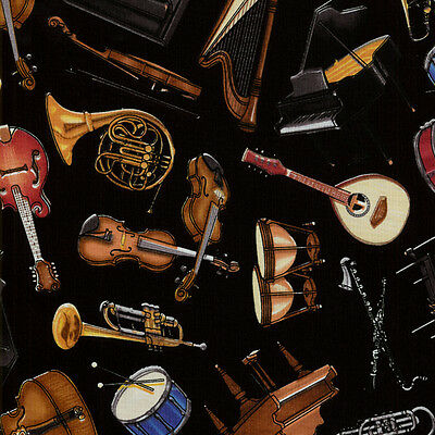 Perfect Pitch RJR Fabrics Various Musical Instruments by Dan Morris BTY NEW