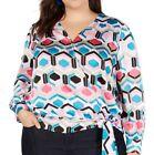 INC Womens Blouse Pink Size 3X Plus Faux Wrap V-Neck Satin Printed $79 468