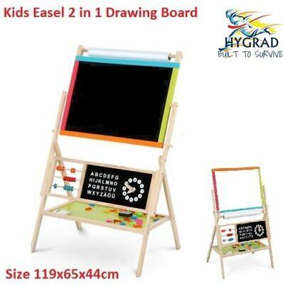 Wooden 2in1 Blackboard Whiteboard Childrens Drawing Art Chalk Board Kids Easel