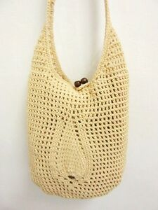 ... CROCHET HOBO WEAVE HANDMADE CROSSBODY SLING SHOULDER BAG M KNIT eBay