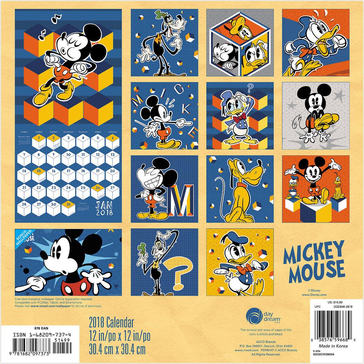 Walt Disney Classic Mickey Mouse 16 Month 2018 Wall Calendar W ...
