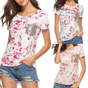 Women-Summer-Short-Sleeve-Floral-Shirt-Blouse-Tops-Loose-T-Shirt-Casual-Tee-Tops