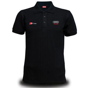 81800ee3d Details about Genuine Audi S Line Car Racing Team Streetwear Motorsport Black  Men Polo T-Shirt