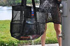 Beach Bag Large Black PVC Mesh Sand Water Drain Strong Polypropylene Handles Zip