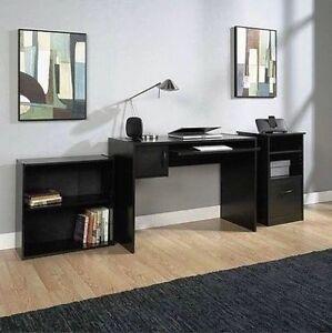 Home Office Student Desk Mainstays 3 Piece Office Set Computer Furniture Black Ebay