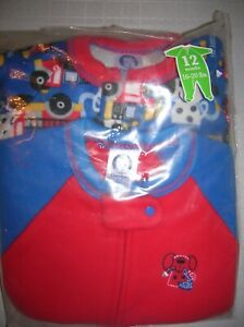 Baby-Sleepers-Zipper-Footed-Fleece-Two-Pack-12-months-Red-Fireman-16-20-lbs-T33