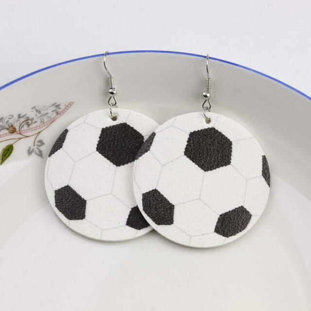 Faux Leather Print Football Drop Earrings Women American Football Sports Jewelry