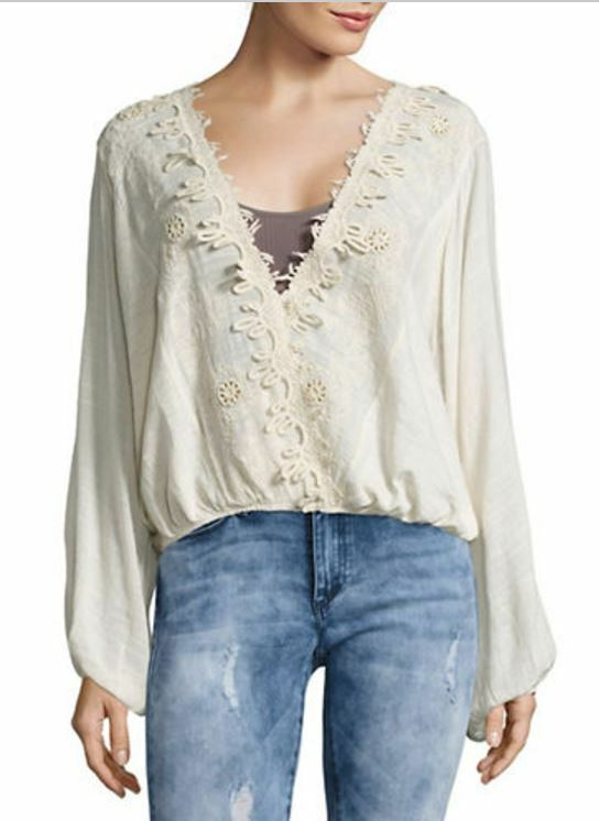 NEW FREE PEOPLE Desert Sands Embroidered Top Size Small NWT