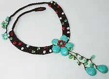 Turquoise Flower, Pearl & Red Coral Handmade Necklace