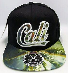 CALIFORNIA REPUBLIC Snapback Cap Hat CALI Palm Tree Flat Bill Visor ... 6eec48250fa9