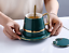 Creative-Drawing-gold-Porcelain-Tea-Cup-and-Saucer-Coffee-Cup-Set-With-Spoon-Lid thumbnail 1