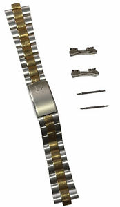 Vintage Gold Plated Two Tone Stainless Steel Wrist Watch Bracelet Link Strap