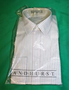 a3b37e9b68f Details about NOS NWT Vintage 80 s Men s ANDHURST White Vertical Striped  Dress Shirt 15-33