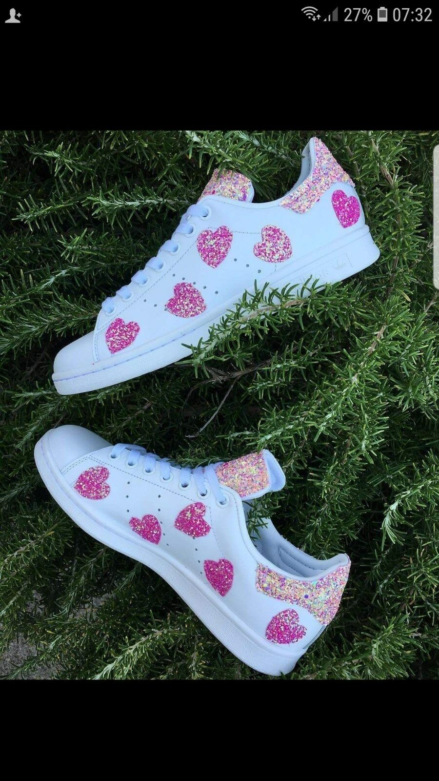 scarpe adidas stan smith con glitter e cuori