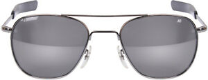 Image is loading AO-Eyewear-Chrome-Aviators-Grey-Lenses-Air-Force- 428902eb8fa