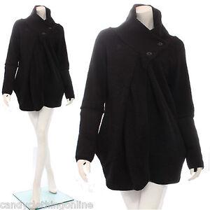 Quirky Lagenlook Cocoon Check Tartan Wool Zip Coatigan Coat Wrap One Size 8-14