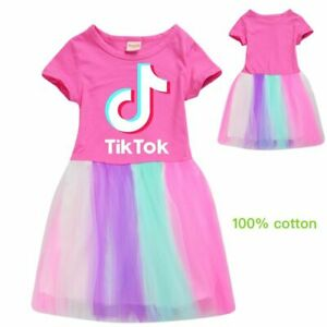 2020 TIK TOK Summer Home Pajamas Tops Dress Sleepwear Girls Birthday Lovely Gift