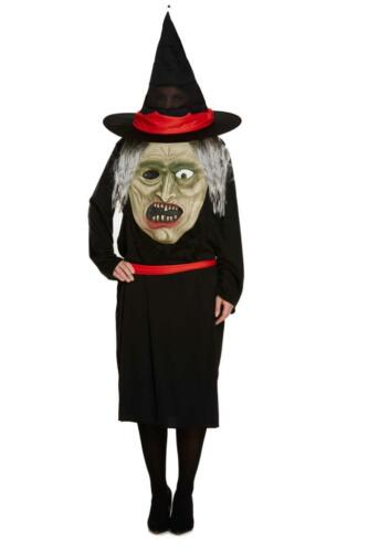 Ladies Adult Witch with Jumbo Face Costume Women Halloween Fancy Dress Accessory