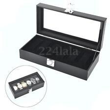 6 Grid Slots Watches Display Storage Collection Box Case Watch Organizer Jewelry
