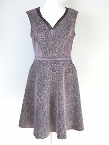 NEW-RRP-149-Reiss-Lilac-Taupe-Back-Panel-Skater-Cocktail-Occasion-Dress-10-UK