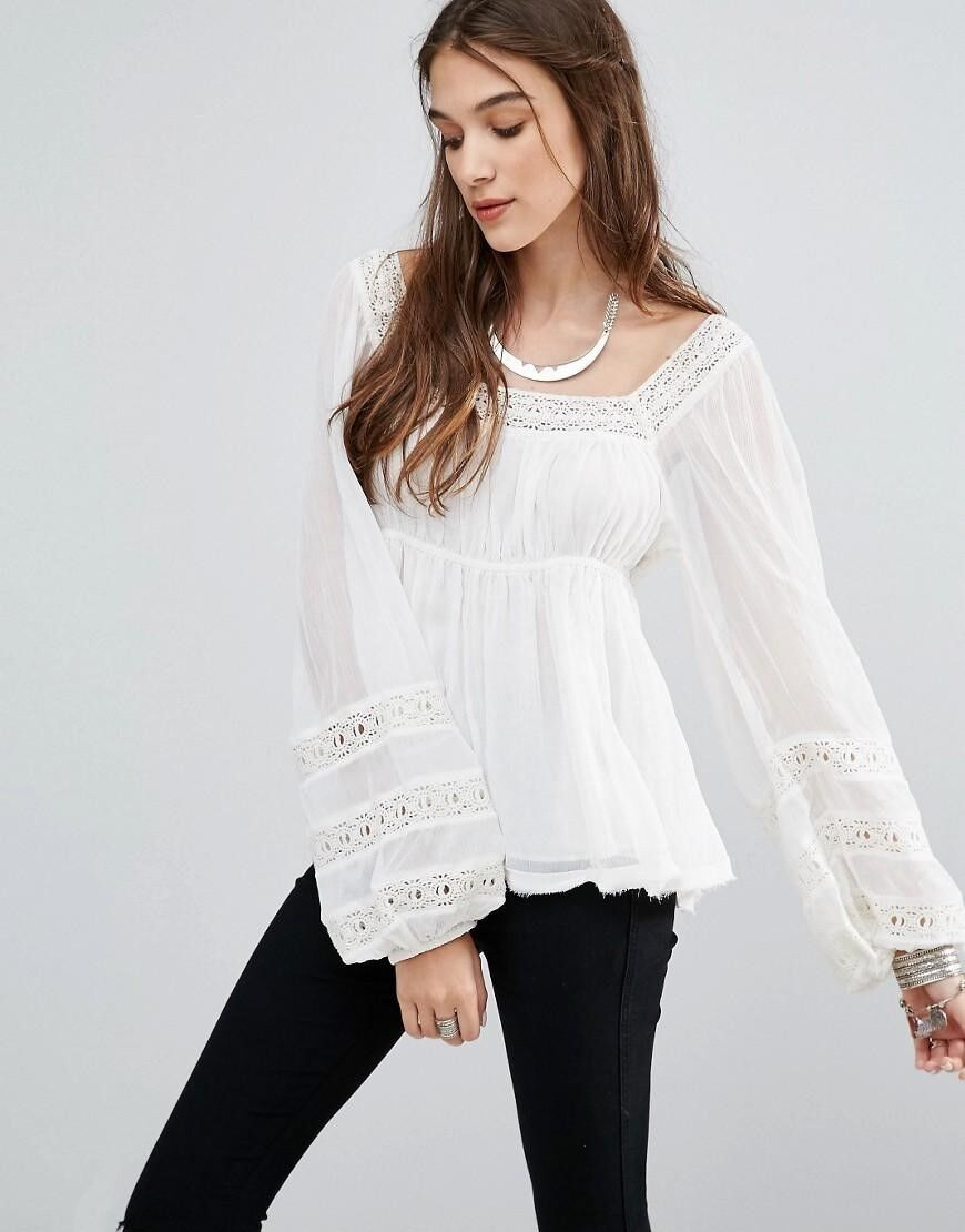 NEW Free People Moonchaser Peasant Top Shirt Blouse S M Ivory  NWT