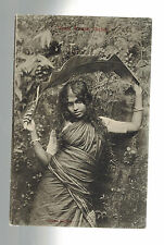 1910 French India Real Picture Postcard Cover to Austria Tamil Woman in Ceylon