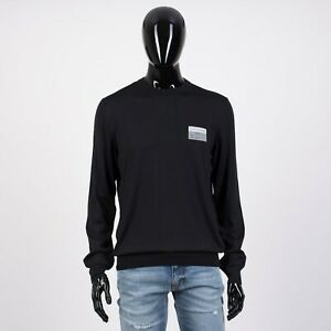 DIOR-HOMME-750-Black-Virgin-Wool-Sweater-With-Christian-Dior-Visitor-Patch