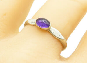 925-Sterling-Silver-Vintage-Petite-Oval-Cut-Amethyst-Band-Ring-Sz-9-R12291