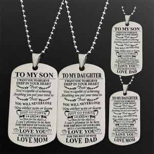 Details about To My Son Daughter Necklace Letters Pendant Chain Mother  Father Teacher Family