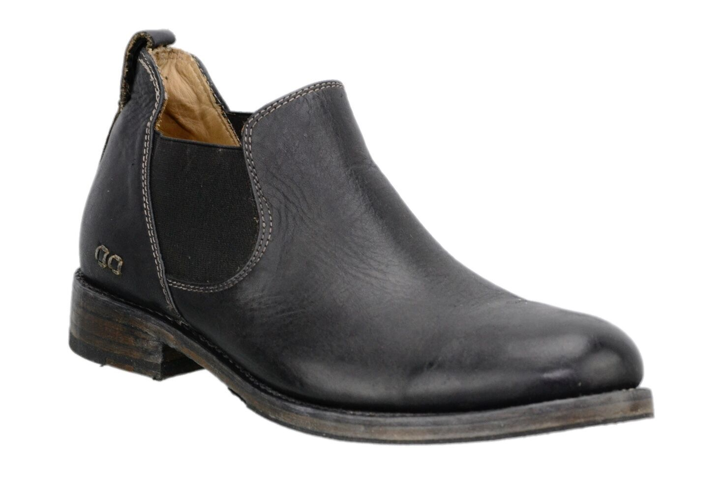 Mens Bed Stu Royce Black Rustic Leather Pull On Ankle Boot