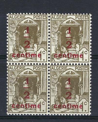 Algérie 1926 Sc # P2 Street In Kazbah Surtaxe 1/2c Colonie Française Bloc 4 Neuf Sans Charnière